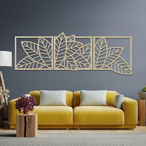 068 Gorgeous 3 Panel Leaf Wall Hanging Art Decor Wooden MDF Ash Oak