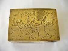 Vintage Chinese Brass Box  - Man In Garden Design To The Lid