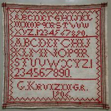 1906 ANTIQUE DUTCH RED EYELET STITCH ALPHABET SAMPLER LETTERS SIGNED G KRUIZINGA