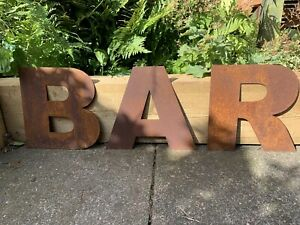 10 Inch Rust Letters BAR Rustic Sign