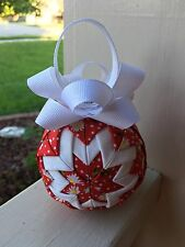 Daisy Red And White Quilted Ornament