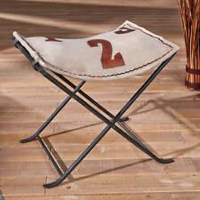 Stuhl Hocker Stoffhocker Metall Baumwolle Leder Braun Vintage