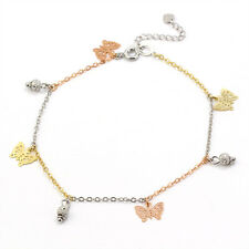 18K PLAIN GOLD GF LADY GIRLS KIDS BABY Butterfly Ball Charm ANKLE BRACELET GIFT