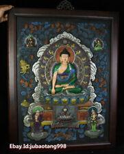 """33"""" Old Tibet Wood Purple Bronze Painting Sakyamuni Buddha Wall Hanging Thanka"""