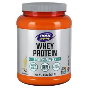 NOW Foods Whey Protein with Glutamine - 2 lbs (Vanilla) Made In USA, FRESH
