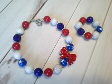 bubblegum chunky bead necklace girl childrens 4th of july patriotic US SELLER