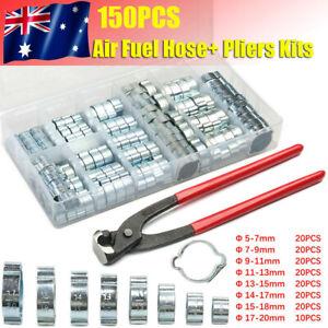150PCS 5-20MM Hose Clamps+Pliers Set Adjustable Fuel Line Petrol Pipe Clips Kit