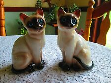 """Lefton pair of Siamese Cats point Blue glass eyes 1988 6 3/4"""" black brown cream"""