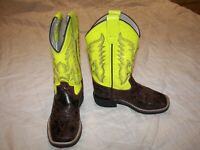 Youth Old West Western Cowboy Boot - Yellow Leather Uppers...Size 100 (10)