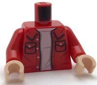 Lego New Red Minifigure Torso Shirt Collar Pockets White T-Shirt Jacket Pattern