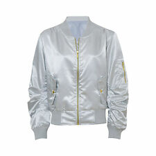Womens Ladies Ma1 Bomber Satin Jacket Coat Biker Army Celeb Thin Summer Vintage UK L (14) Silver
