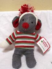 10 Inch Plush Gray Sock Mouse Christmas Holiday Decoration Childs Monkey Gift