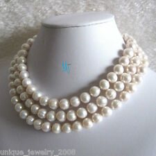 """48"""" 10-11mm White Fresh Water Pearl Necklace Strand Jewelry"""