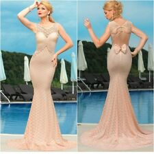 Nude/Light Pink Lace Evening Maxi Dress Cut Out Back Occasional One Size(UK8-10)