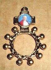 ST SAINT POPE JOHN PAUL II Rosary RING Mystic Gold Plated NEW ITALY
