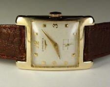 Longines 14K Solid Gold Rectangle 17J 23Z Vintage 1952 Swiss Dress Watch Leather