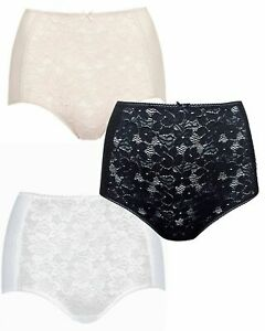 Ladies Knickers Full Brief Lace Front Cotton Blend High Rise Packs of 3 EX M&S