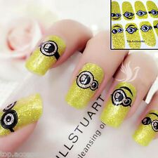 Yellow Sparkly MINIONS Nail Art Wrap Full Cover Stickers #06090 Free P&P