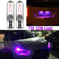 2Pcs Car T10 194 168 W5W COB LED Canbus Glass License Plate Width Purple Bulbs