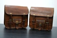 2 Side Bags Pouch Real Leather Motorcycle Side Pouch Saddlebags Saddle Panniers