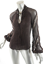 J. MENDEL Chocolate 100% Silk Chiffon Blouse with Sequins Lace Accents US 6 WOW