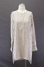 NWT$1345 Brunello Cucinelli Women's 100% Silk Monili Striped Tunic Dress Shirt M