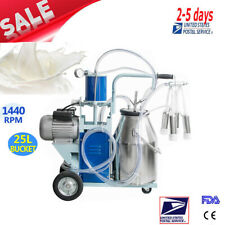 Usa Electric Milking Machine For Cows +25L Bucket Vacuum Piston Pump Automatic!