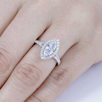 925 Sterling Silver Marquise CZ Engagement Ring Wedding Band Size 3-15 ML2487A