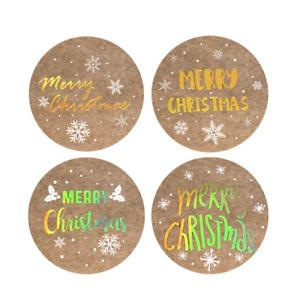 50PCS Merry Christmas Sticker Kraft Gold Thank you business Sticker HOLOGRAPHIC