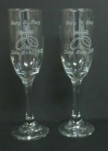 PAIR LASER ENGRAVED GLASS CHAMPAGNE FLUTES TOASTING GLASSES PERSONALIZE WEDDING