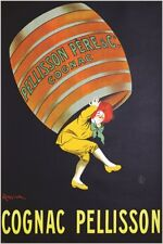COGNAC PELLISSON vintage ad poster FRENCH LIQUOR collectors colorful 24X36