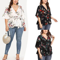 Womens Summer Floral Print Plus Size Belted Surplice Peplum Blouse V-Neck Tops