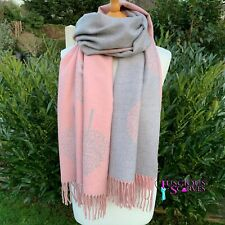 MULBERRY TREE PINK & GREY WRAP REVERSIBLE WRAP, SHAWL,SCARF, CASHMERE BLEND