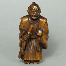 "1940's Japanese handmade Boxwood Netsuke ""Japanese Samurai""  Figurine Carving WS"