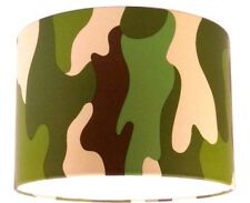 Lampshade Handmade with Green Camouflage Wallpaper Khaki 20cm/8""