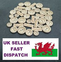 Wooden Handmade With Love Buttons Pack of 30 15mm, 20mm, 25mm or Mixed & Oblong