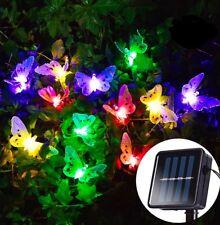 20LED Solar Powered Butterfly RGB Fiber Optic Fairy String Outdoor Garden Lights