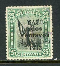 "Nicaragua 1913 Liberty Gold Currency 2¢/25¢ Green & Black Sc 320a ""do""  VFU W885"