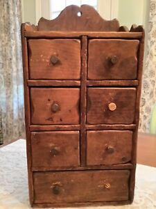 Vintage 7 Drawer Wood Spice Cabinet Wall Counter Apothecary Primitive Handmade