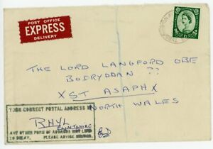 """1961 EXPRESS cover with SCARCE """"YOUR CORRECT POSTAL ADDRESS IS Rhyl ...."""" h/s"""