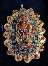 "Antique VTG TIBETAN Nepal Silver CORAL TURQUOISE GAU GHAU PENDANT Prayer BOX 3"""