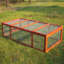 """Wooden Rabbit Hutch with Run Pet Animal Cage Poultry Chicken Coop 71"""""""