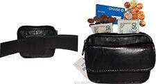 New Mini leather mens bag belt loop bag Black waist bag Business credit card nwt