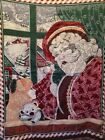 """Goodwin Weavers Santa Claus Christmas Holiday Tapestry Throw Blanket 50"""" X 72"""""""