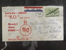 1944 USA Patriotic Cover Ithaca NY It's Tokyo K.O. Lets Go Army Camp Ritchie MD