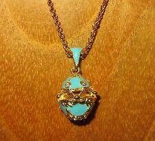 Russian FABERGE inspired LIGHT BLUE ENAMEL Swarovsky Crystal hollow EGG pendant