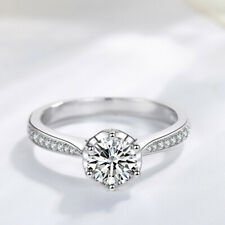 Simulated Diamond Wedding Engagement Ring Women 925 Sterling Silver Shiny 0.9 Ct