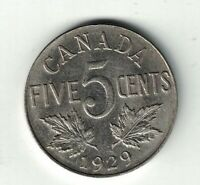 CANADA 1929 FIVE CENTS KING GEORGE V NICKEL CANADIAN COIN