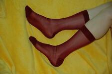 Men's Cool Sheer Causal Dress Suit Socks See Through Soft Thin Pure Burgundy