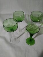 Set Of 3 Green Wine Glasses And Green Martini Glass. Z5